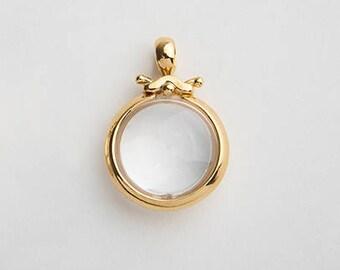 Large Rock Crystal Gold Pendant, Round Bezel Pendant, 18k Yellow Gold Pendant, Women's Bezel Necklace, Cocktail Pendant, Clear Gem Stone