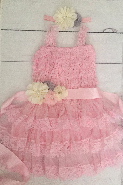 Girls Pink Grey Ivory Lace Dress 1st Birthday Dress Flower Girl