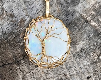 "Tree of Life Necklace - 14k Gold Filled - Genuine Australian Fire Opal - ""Autumn Flora"""