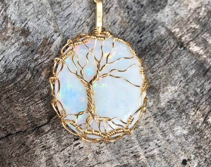 "Featured listing image: Tree of Life Necklace - 14k Gold Filled - Genuine Australian Fire Opal - ""Autumn Flora"""