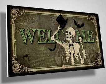 Skeleton Welcome Sign,wall decor,gothic,skulls,home decor,door sign,front door sign,pvc sign,skull,housewarming,gift ideas,