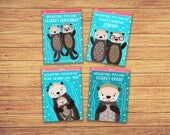 Otterly Adorable Valentine Cards - Kids Valentine's Day Cards - Kids Valentine Cards - Printable Valentine's Day Cards - Set of 4