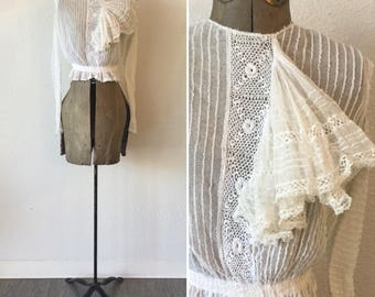 Rosamonde Edwardian blouse | Vintage lace and crochet long sleeve top | 1910s white net and lace blouse with ruffle