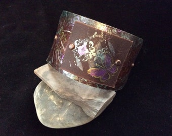 Whimsical Brown Leather Cuff Bracelet that is hand painted