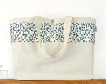 Wildflower Large Tote Bag, Canvas Tote, Reusable Shopper Bag, Cotton Tote, Shopping Bag, Eco Tote Bag, Reusable Grocery Bag