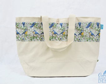 Blue Tit Large Tote Bag, Canvas Tote, Reusable Shopper Bag, Cotton Tote, Shopping Bag, Eco Tote Bag, Reusable Grocery Bag