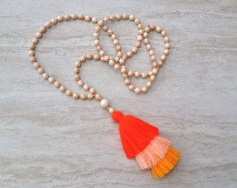 Tassel Stack Necklace Howlite Bead Tassel Necklace Orange Ombre Hand Knot Beaded Tassel Necklace Statement Necklace Layered Tassel Necklace
