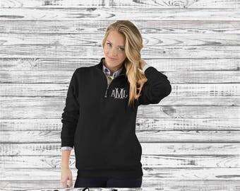 Monogrammed Quarter Zip Pullover Sweatshirt, Monogram Sweatshirt, Monogram Quarter Zip Pullover, Charles River Apparel Crosswind Sweatshirt