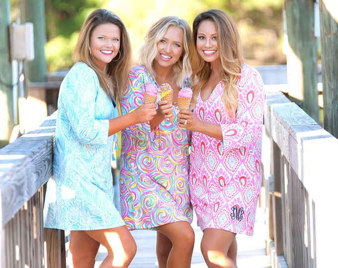 Monogrammed Swimsuit Cover Up, Beach Cover Up,  Monogram Tunic Dress, Bridesmaid Gifts, Monogrammed Beach Tunic, Group Discounts