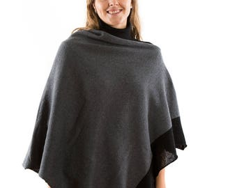 Grey Womens wool Boat Neck Poncho. Plus Size Knit Wool Cape Coat with Fashionable Black Colour Block Hem. Mothers Day Gift For Grandmother