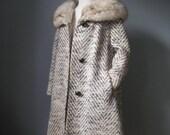 Tweed Coat Fox Collar / V...