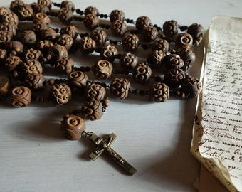 Huge Antique Carved 6 Decade Rosary, Lourdes Souvenir. Chaplet, French Circa 1920's