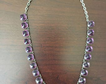 Purple Crystals on a Sterling Silver Chain