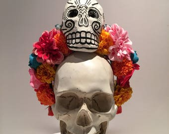 Day of the Dead- Flower Crown- Rose Headband- skull Headband- Festival wear- Fall Solstice- Frida Kahlo-Dia de los Muerto- Halloween wedding