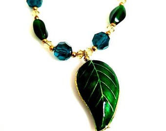 green teal crystal leaf pendant gold necklace magnetic clasp necklace unique beaded chain nature jewelry gifts for her necklaces for women