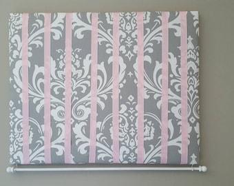 Bow Holder, Bow Organizer, Headband Holder, 16 x 20 Bow Board, Headband Organizer Pink White Damask Fabric, Baby Shower Gift, Nursery Decor