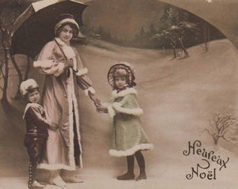 Christmas Lady With Two Children Antique Photo Postcard