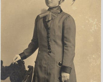 Photo of Woman Wearing Long Coat and Plumed Hat Circa 1910