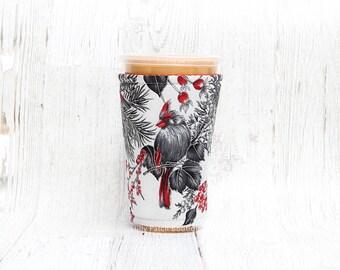 Winter Birds, Black Bird, Cup Cozy,  Coffee Cozy, Iced Coffee, Cup Sleeve, Coffee Cuff, Iced Coffee Cozy, Eco Friendly