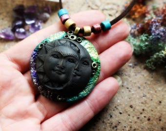 Sun & Moon Necklace - Color Collection - Ink Colored - Handcrafted Clay..
