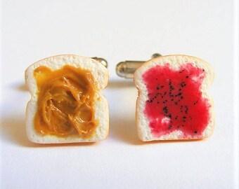 Food Jewelry, Peanut Butter and Jelly Cufflinks, Mens Cuff links, Miniature Food, Mini Food, Handmade Jewelry, PB and J Cufflinks, Sandwich