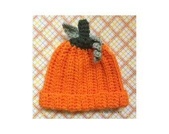Crochet Pumpkin Hat Baby 0-3 Months READY TO SHIP Crochet Beanie Crochet Hat Halloween Autumn Fall Photography Props for Babies Orange
