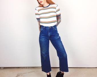Retro Wrangler High Waisted Western Vintage Ankle Crop Mom Jeans // Women's size 29 30 Short Petite