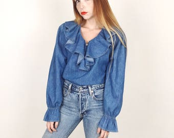 90's Vintage Denim Ruffle Peasant Romantic Blouse Top // Women's size Small S Medium M