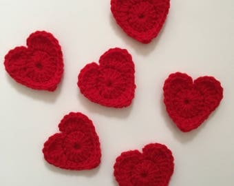 Set of 6 Red Crochet Heart Appliqués | Crocheted Hearts to Use for Arts and Crafts, Gift Giving, and More! | Heart Embellishments