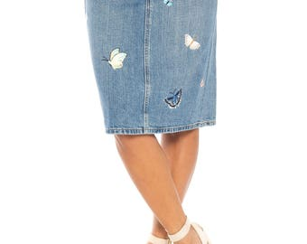 Denim Skirt With Butterfly Embroidery Size: 4