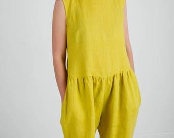 Yellow Linen Jumpsuit - Sleeveless Linen Jumpsuit - Yellow Linen Overall - Women Jumpsuit - Women Overall - Handmade by OFFON