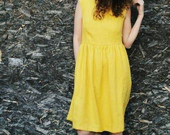 Linen Dress - Yellow Linen Midi Dress - Women Dress - Organic Linen Dress - Summer Dress - Sleeveless Dress - Handmade by OFFON