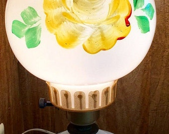 Vintage Electric Table Lamp, GWTW Hurricane Style  16 in tall, cottage chic parlor lamp, yellow floral lamp milk glass