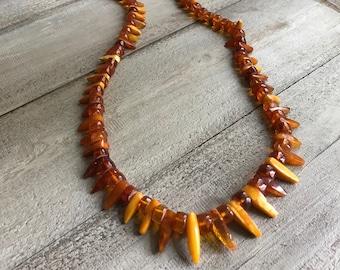 "Baltic Butterscotch Amber Necklace, 40"" Length, Vintage"