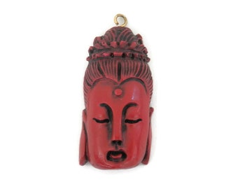 Buddha Black Cherry Red Bakelite Pendant Hollywood Regency 1940's Plastic Jewelry