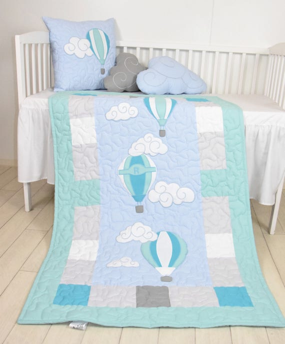 hot air balloons baby  blanket, fly away, clouds , modern nursery  decor, shower gift idea