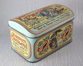 1930's Purrfect Chocolates Chocolate Tin with Cat Images Colourful
