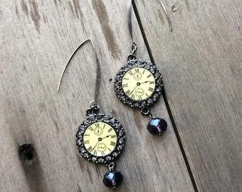 Clock Earrings, steampunk earrings, time, statement earrings