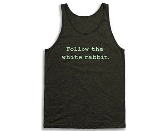 Follow The White Rabbit Tank Top - Vintage Tri-Blend Apparel For Men & Women