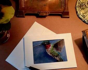 Notecards Hummingbird ACEO Print Six Blank Photo Frame Note Cards