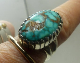 Sterling Silver Turquoise Ring sz 6- 9.4 grms-stone is 25X19mm -1947