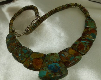 "Turquoise Multi slab Necklace- 2.1 ounces-front slab 35X30mm-18"" long- Beautiful stone- 1968"