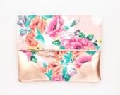 Flower clutch bag. Fold over clutch. Leather handbag. Statement purse. Floral print fabric. Rose gold leather. Coral handbag. /ROMANTIC 10
