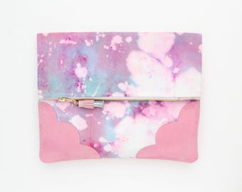 Dyed cotton clutch bag. Fold over clutch. Leather handbag. Statement purse. Hand colored. Pink natural leather. Purple handbag./DELIGHT 66