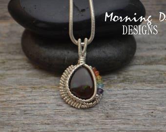 ONE OF A KIND Sterling Silver & Fire Agate Wire Wrap Pendant - Garnet, Carnelian, Citrine, Peridot, Aquamarine, Amethyst