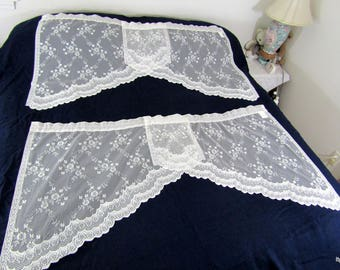 Vintage White Lace Valance Curtains (2pc.) 2 windows