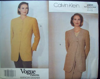 Calvin Klein Vogue American Designer Pattern 2832 Designer Hip Jacket Uncut Sizes 12, 14, 16