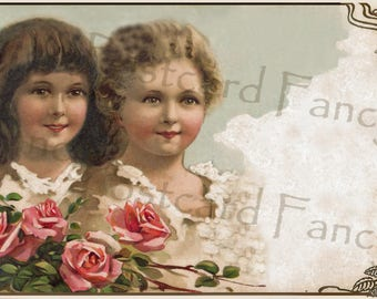 Pretty Young Girls with Roses, Instant Digital Download, Vintage Border Frame Postcard, Add Text, Printable