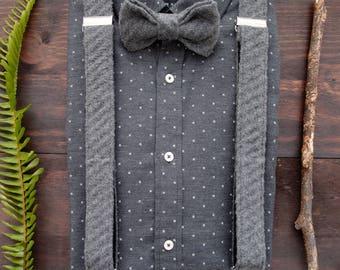 Grey bow tie and suspenders, Adult  suspenders set, Dark gray suspenders set, Mens suspenders set, Suspenders bowtie set, Grooms suspenders