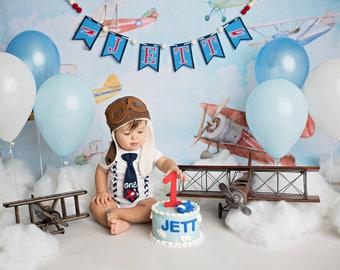 Airplane Birthday Banner - 1st birthday boy - Highchair banner - First birthday boy - First birthday banner - Baby shower decorations - One